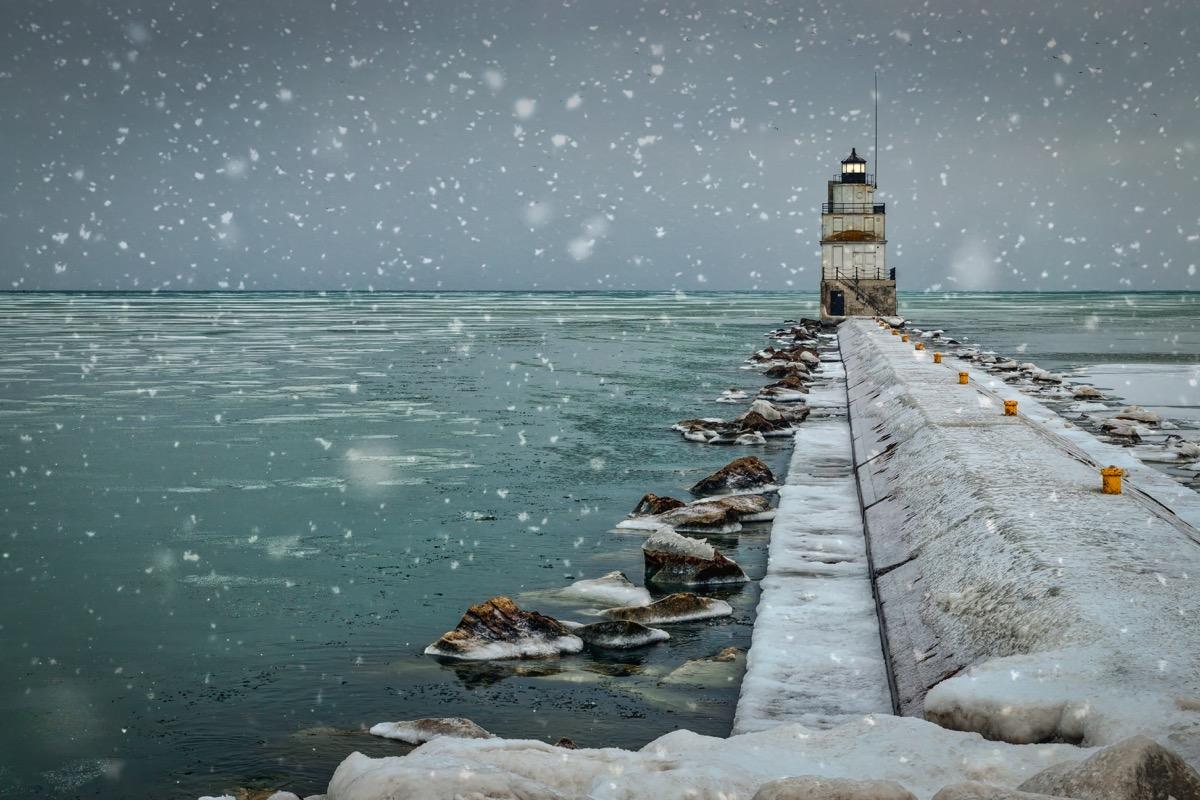 Lake Michigan in the winter in Wisconsin