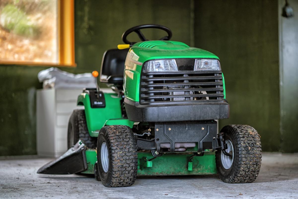 lawnmower in garage