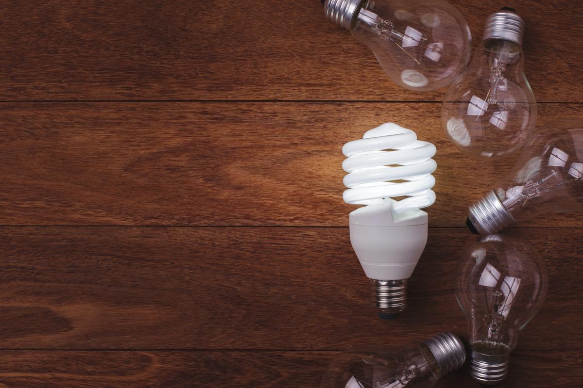 light bulbs on a wooden table
