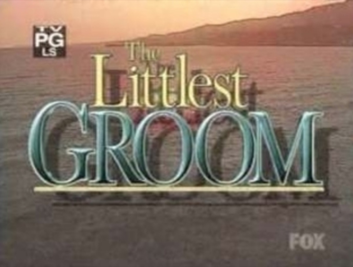 """the words """"the littlest groom"""" on brown background"""
