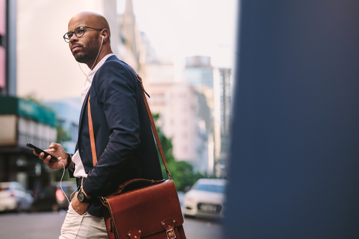 man walking to work with briefcase