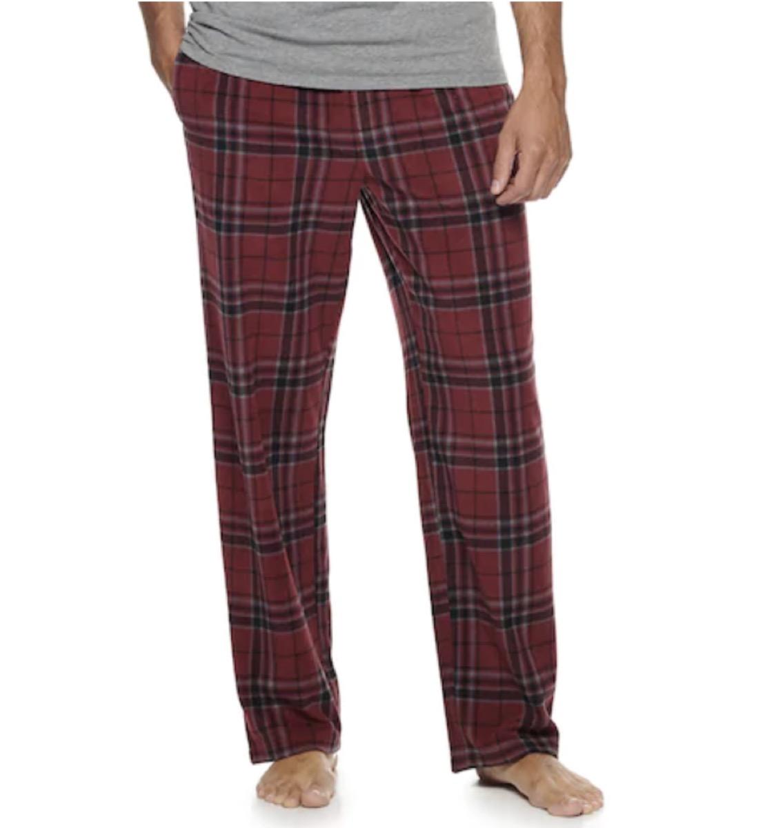 microfleece sleep pants in red plaid