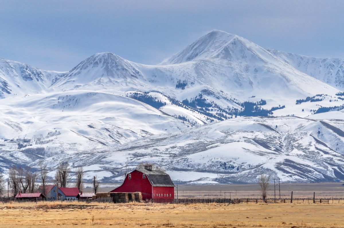 Montana in the winter with snowy mountains