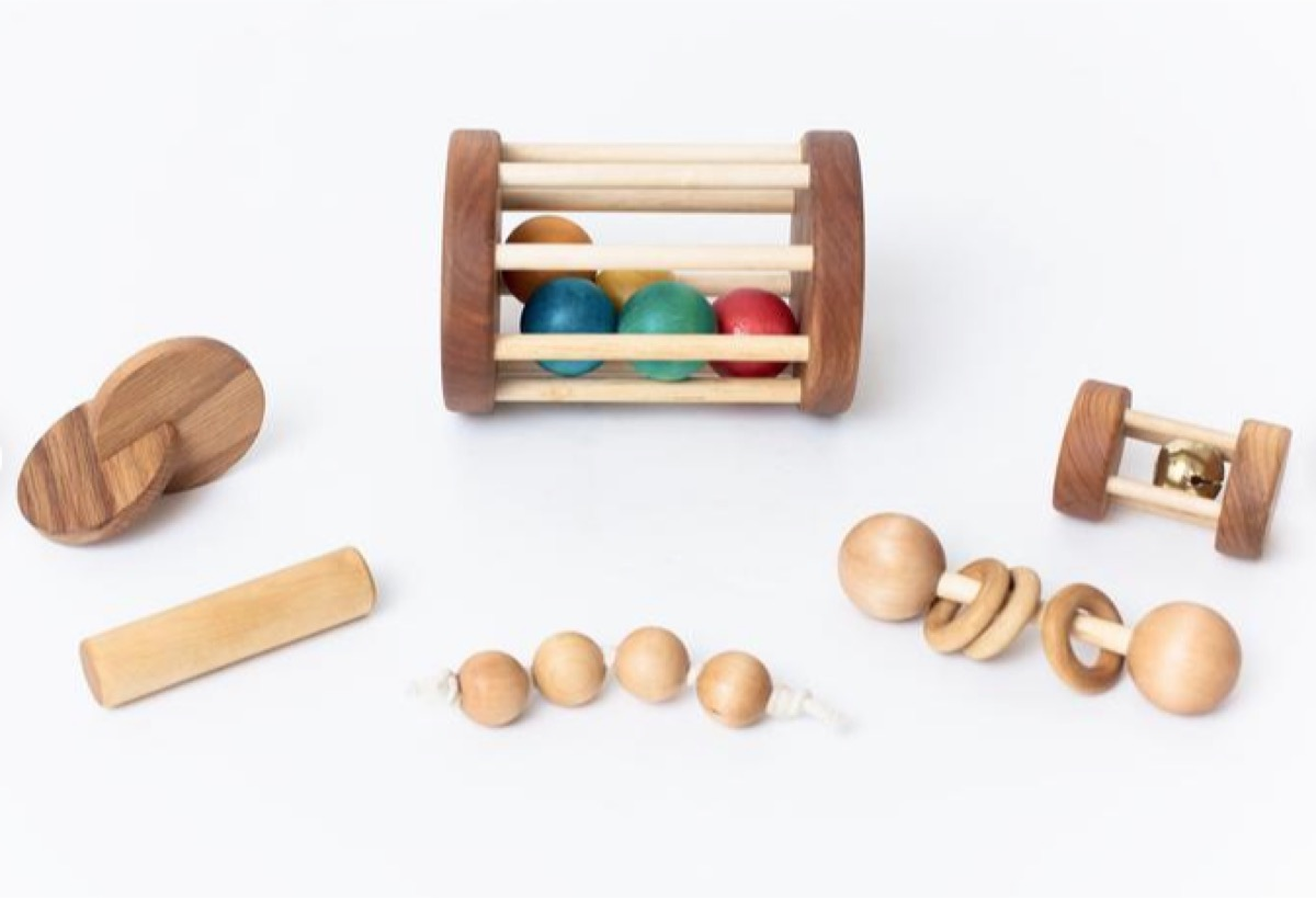 montessori baby set of wooden toys