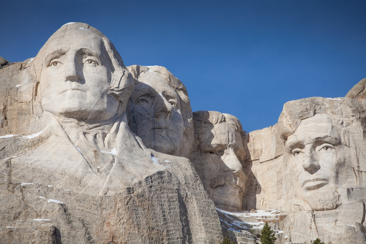 Mount Rushmore in South Dakota covered in snow