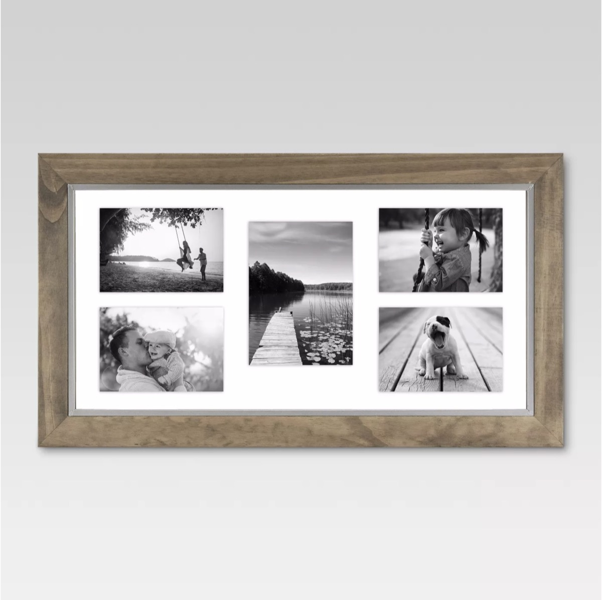 multiple picture frame with wood edges