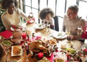 multiracial family celebrating christmas together