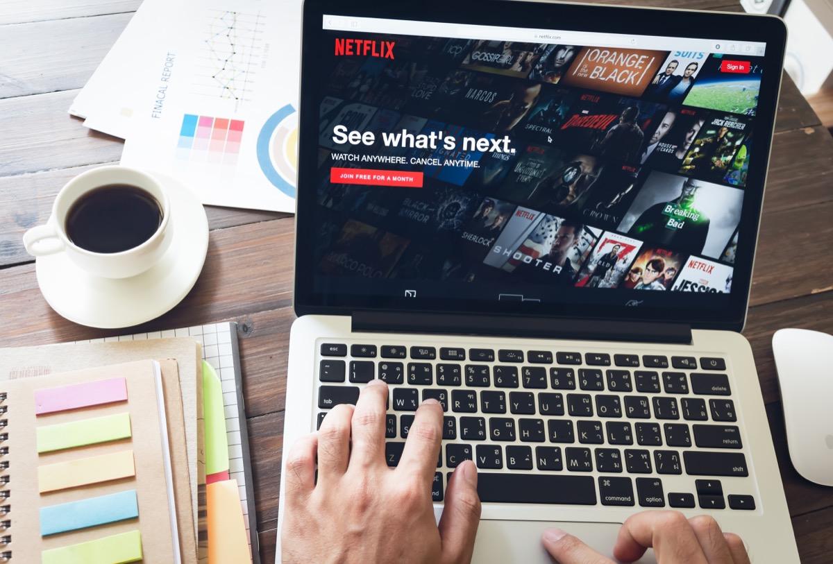 netflix open on laptop