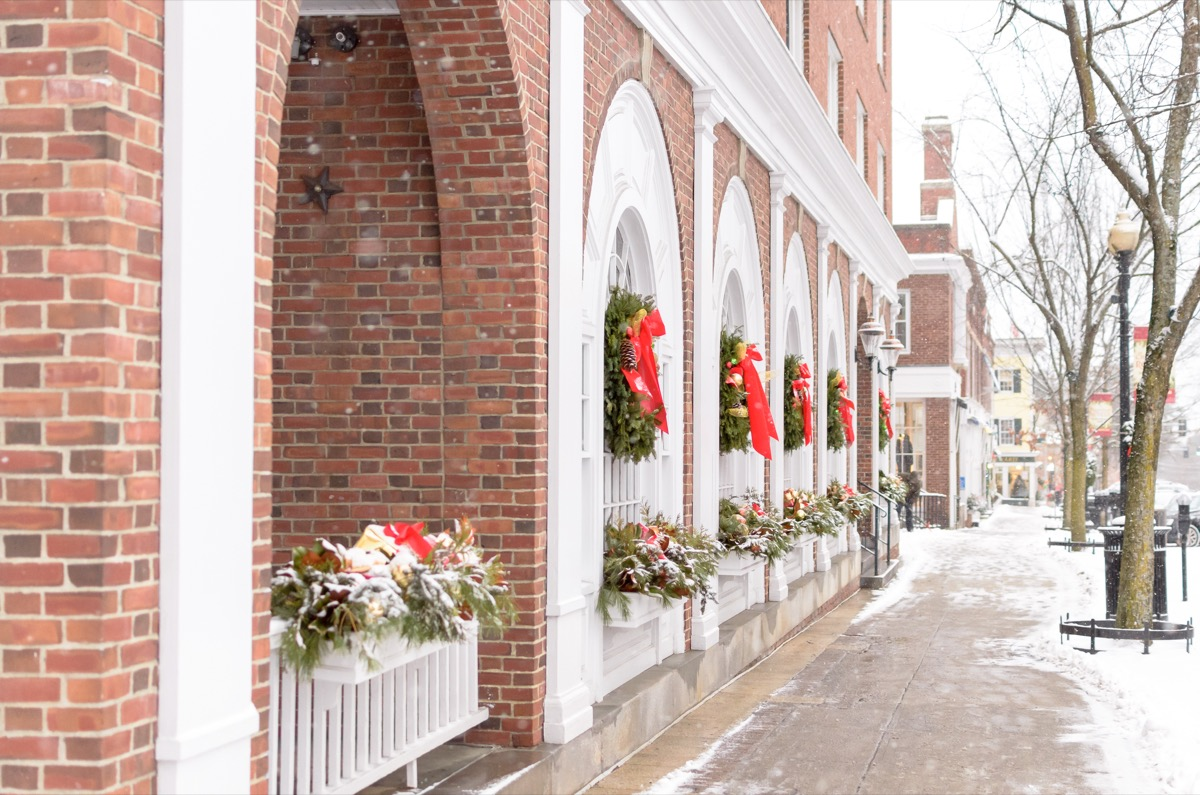Streets of New Hampshire decorated for Christmas in the winter