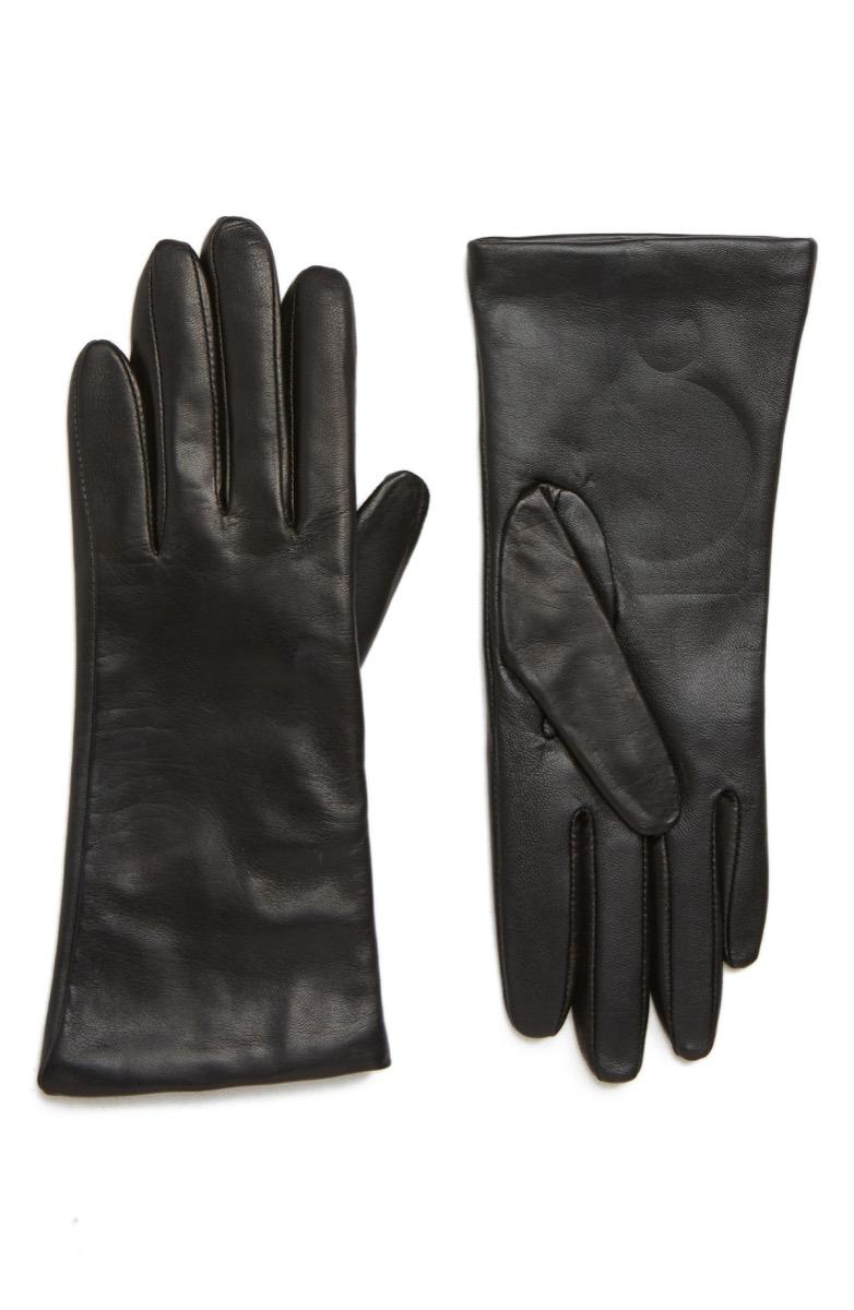 nordstrom black leather gloves
