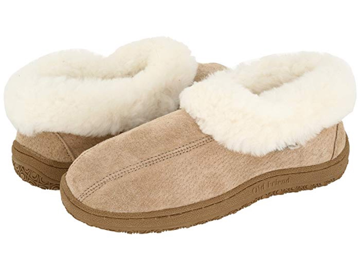 brown shearling lined slippers