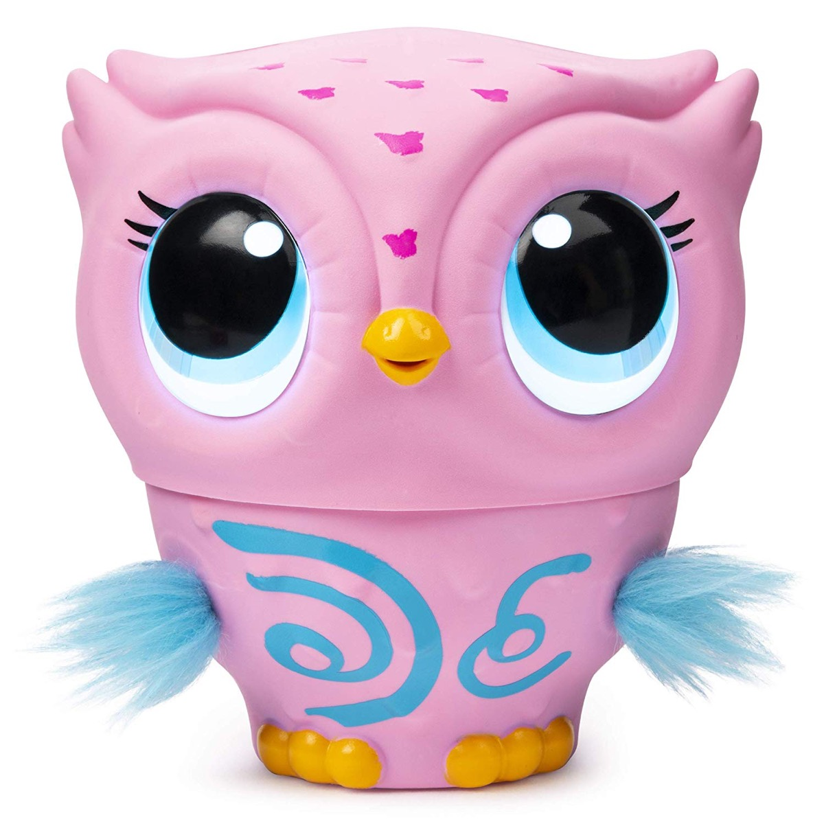 pink owl toy with blue wings and blue designs
