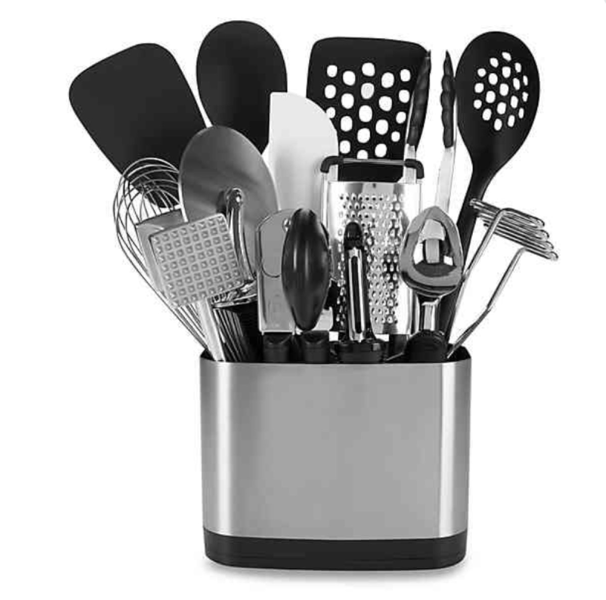 oxo good grips kitchen tool set with spatulas and cutting tools and graters in silver container
