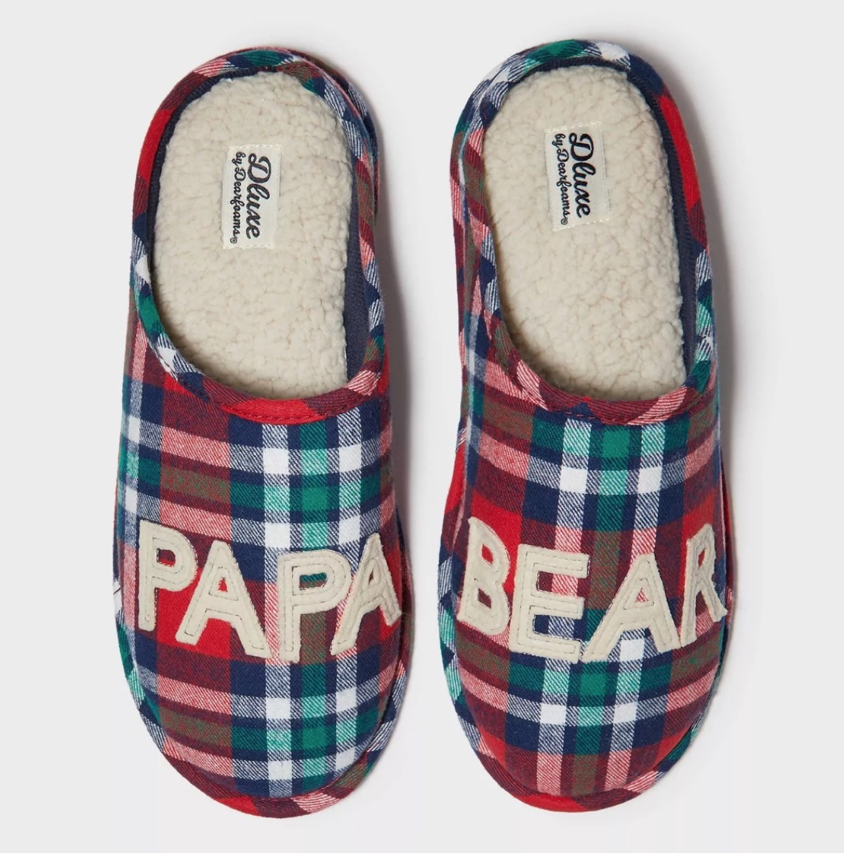 red and green plaid slippers with papa bear on the toes