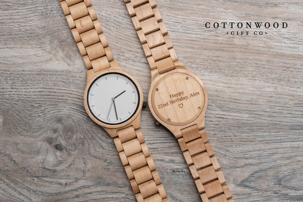personalized mens wooden watch
