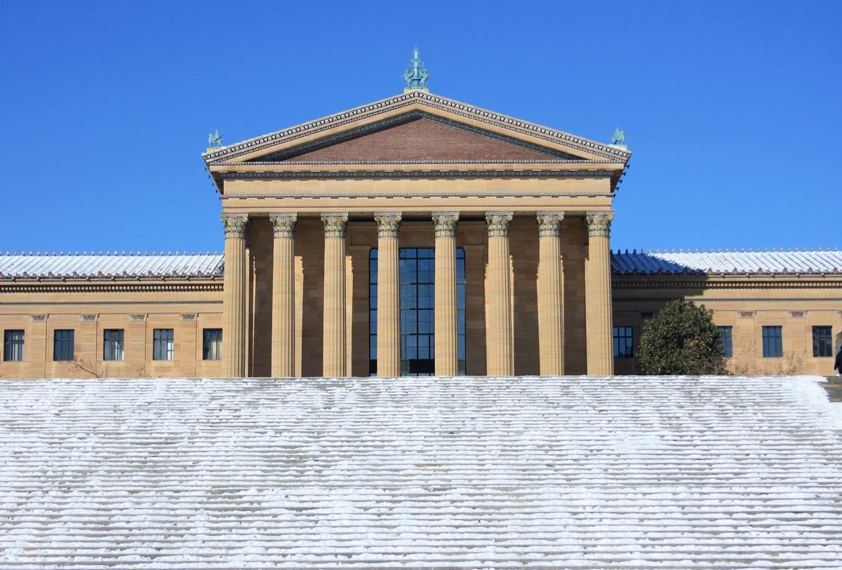 Philadelphia museum covered in snow