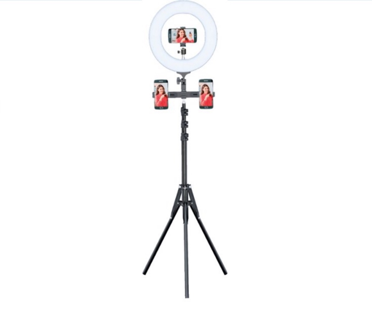black ring light tripod with two phones attached to it