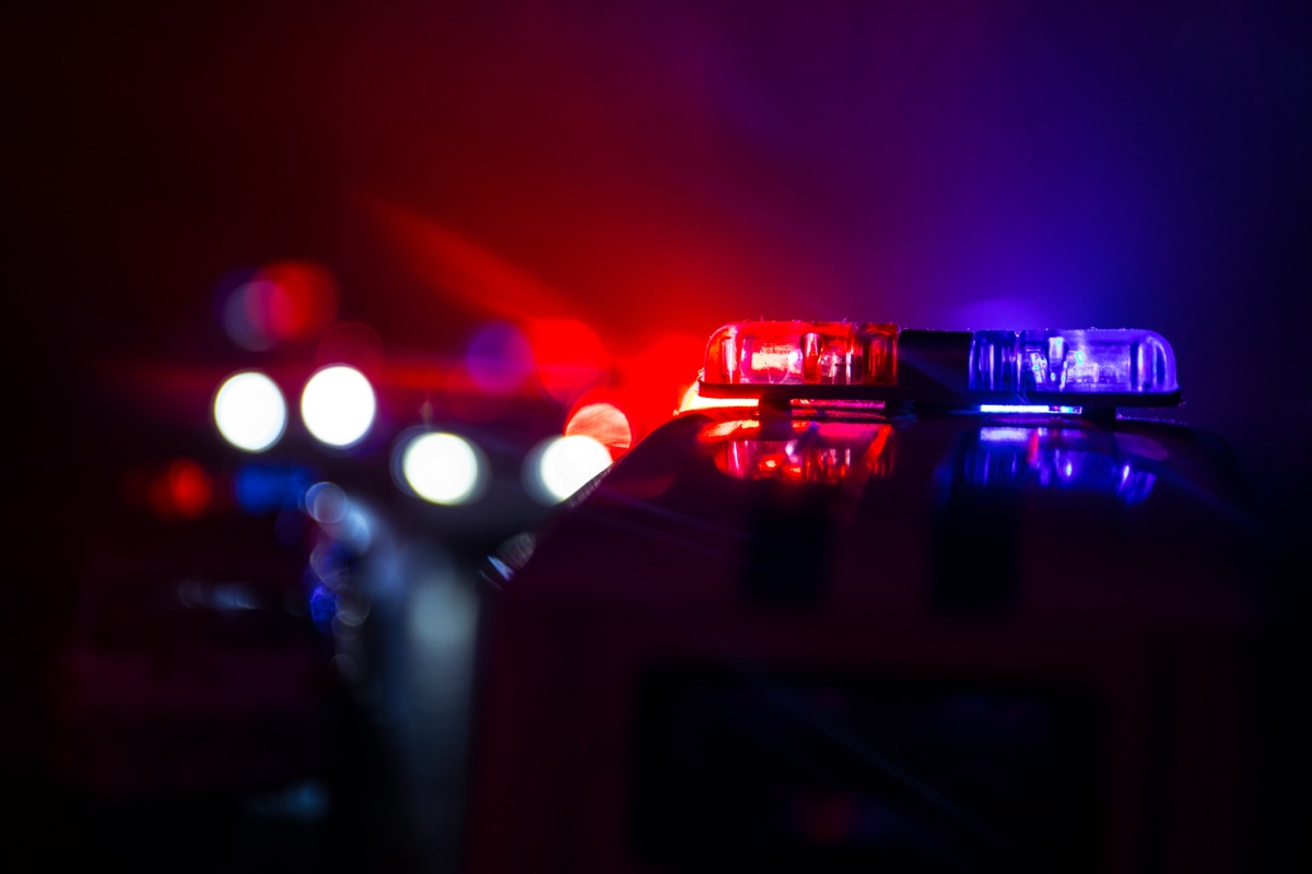 police cars at night