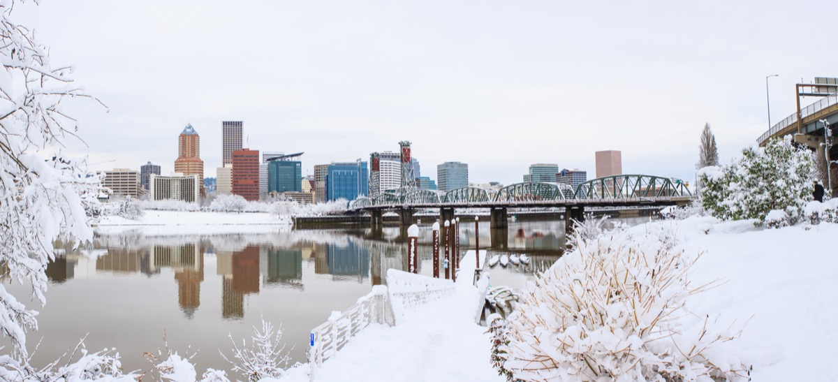 Portland Oregon landscape covered in snow