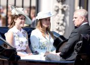 Princess Eugenie, Princess Beatrice and Prince Andrew Duke of York at Trooping the Colour at Buckingham Palace in London.
