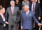 Prince Charles and Prince Andrew seen leaving The Malaria Summit in London