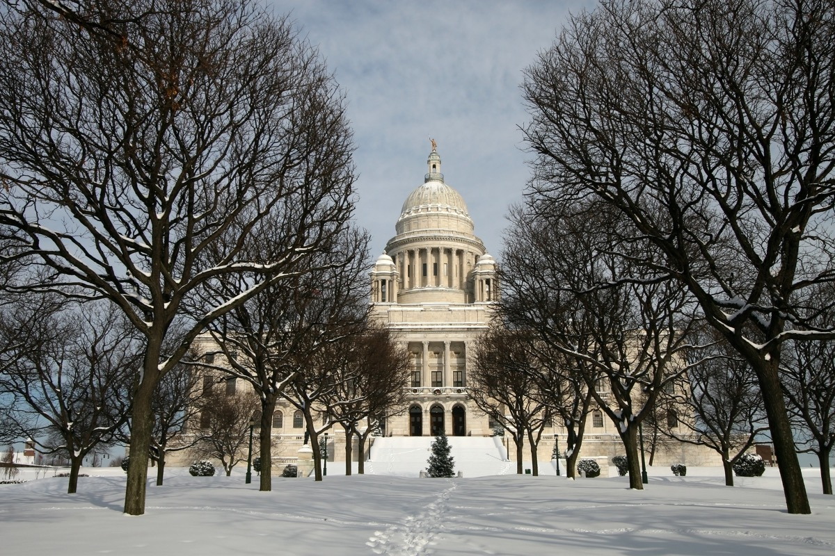 Capitol building in Rhode Island covered in snow