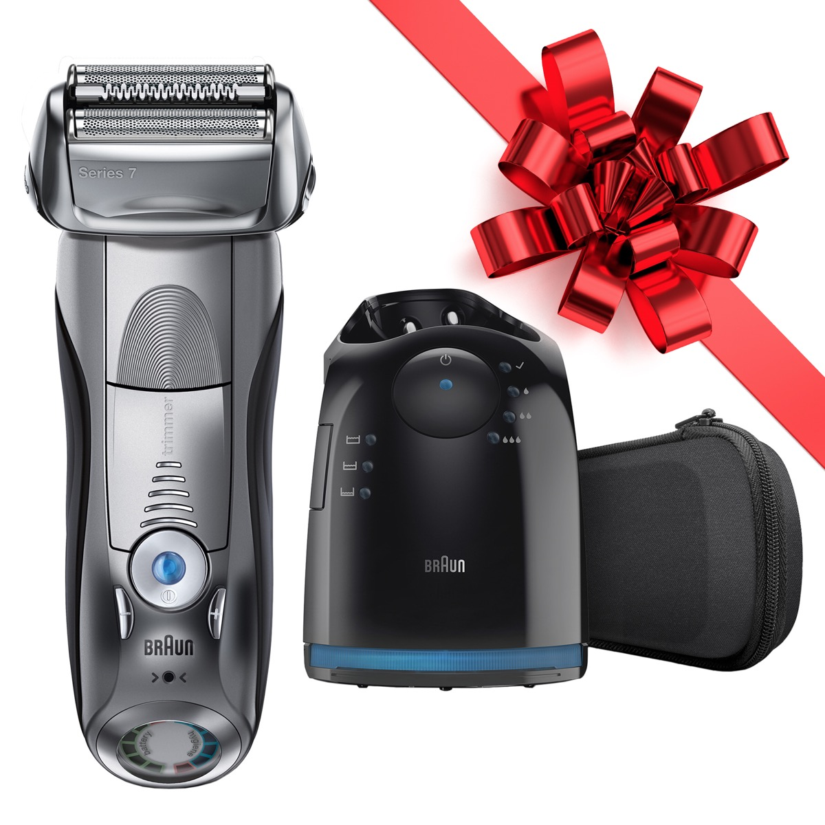 electric beard trimmer in silver with black charging base and red bow