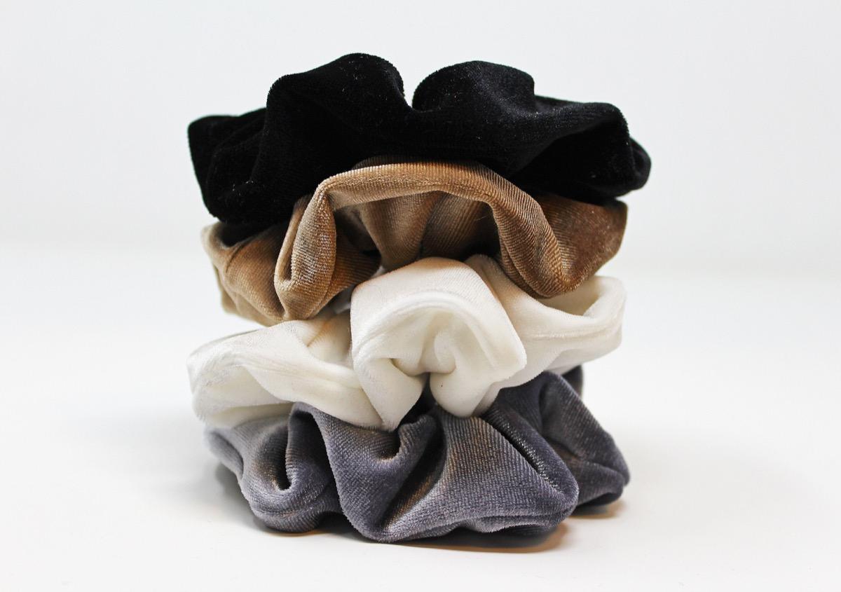stack of velvet scrunchies