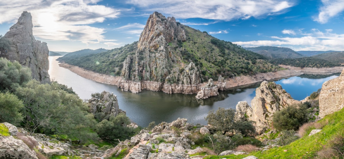 river crossing with beautiful cliffsides in spain