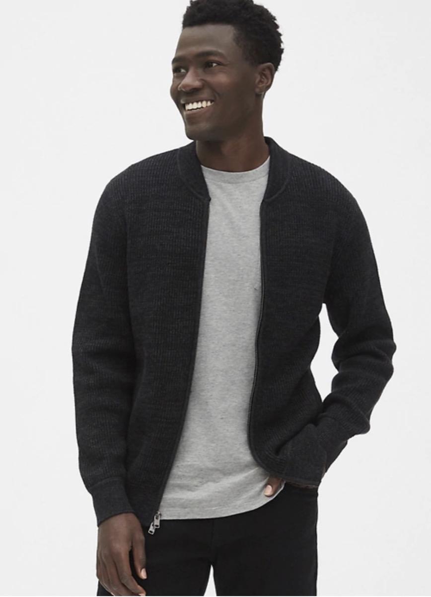 textured full-zip bomber sweater