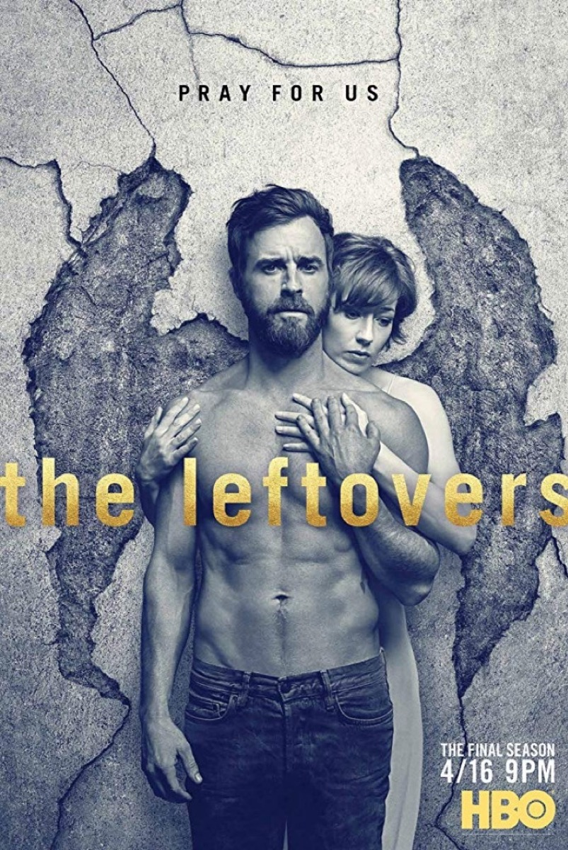 shirtless justin theroux with angel wings hugged by carrie coon in black and white promotional image