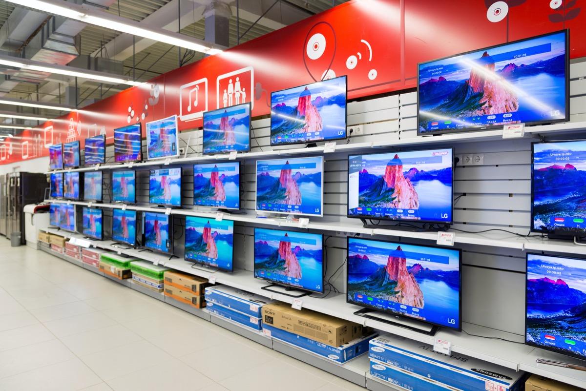 tvs on store shelf