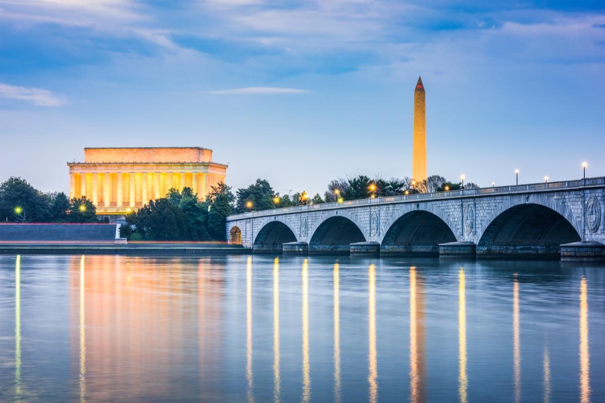 cityscape photo of Washington, DC at dusk