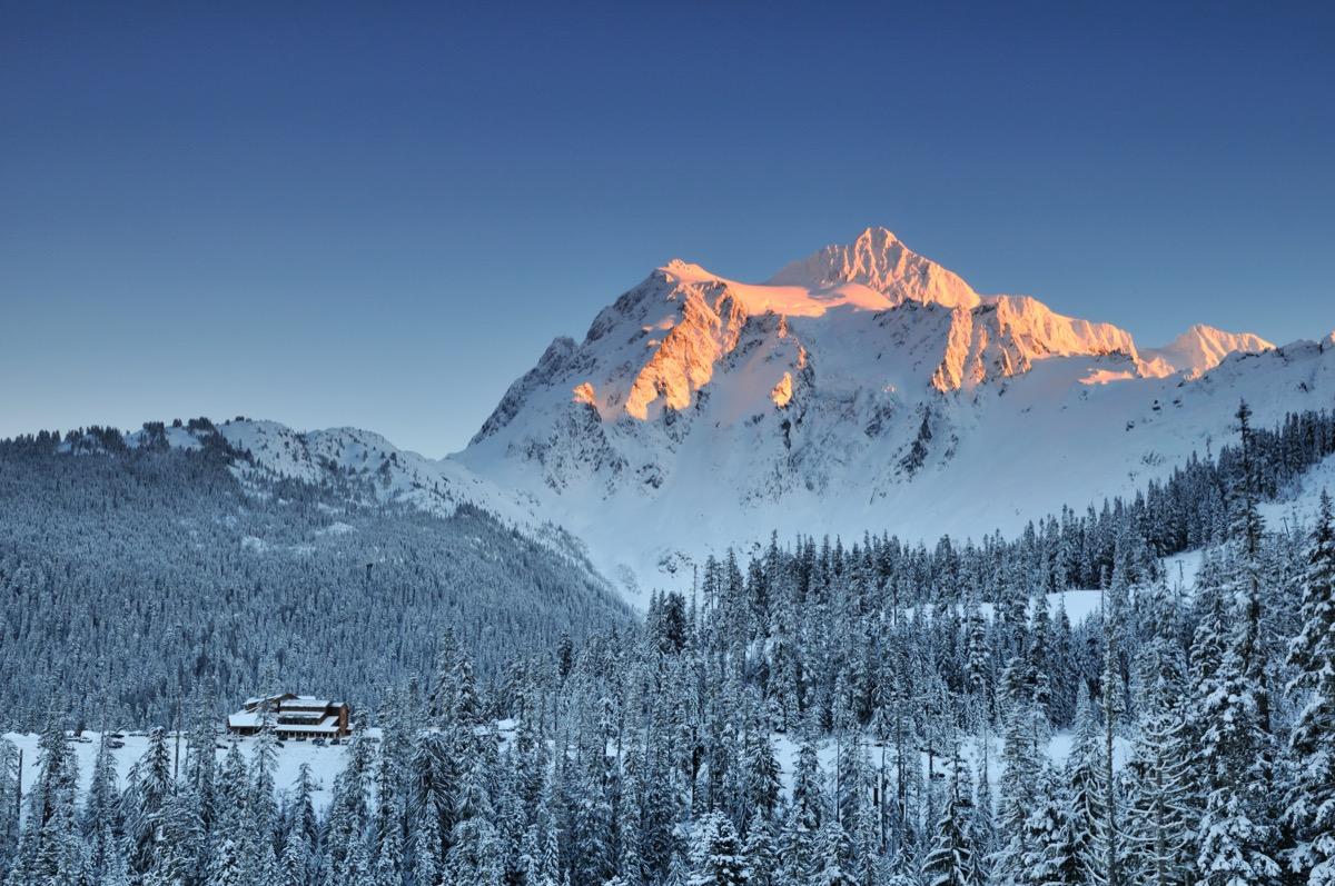 Mount Shuksan in Washington covered in snow