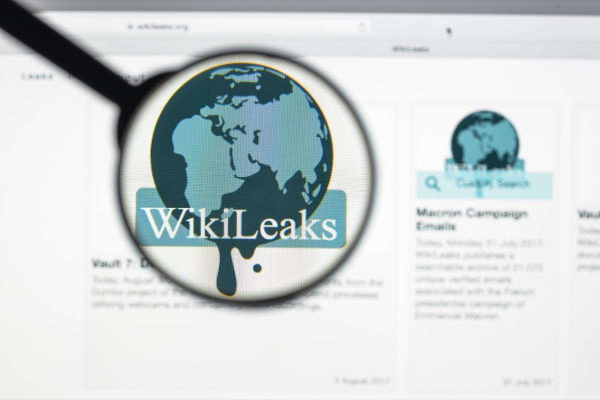 wikileaks website on a computer screen