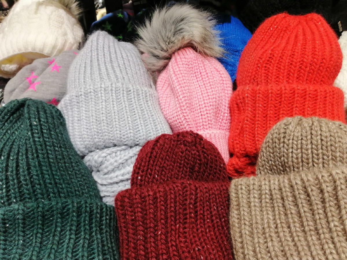 multicolored winter hats