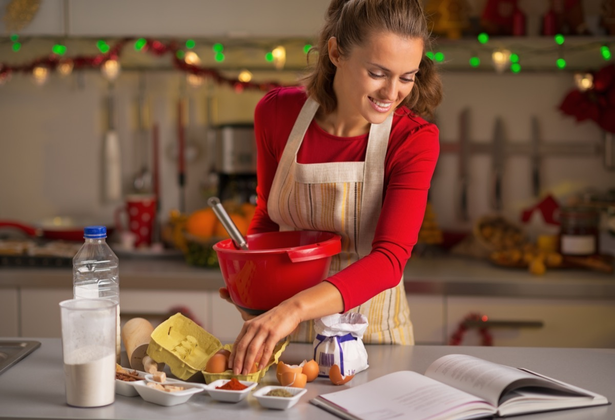Woman cooking food for the holidays