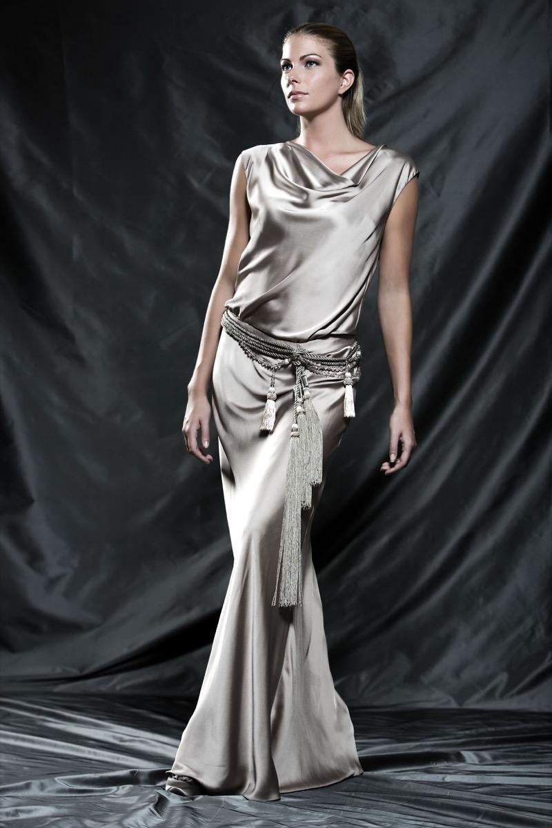 woman in drape dress
