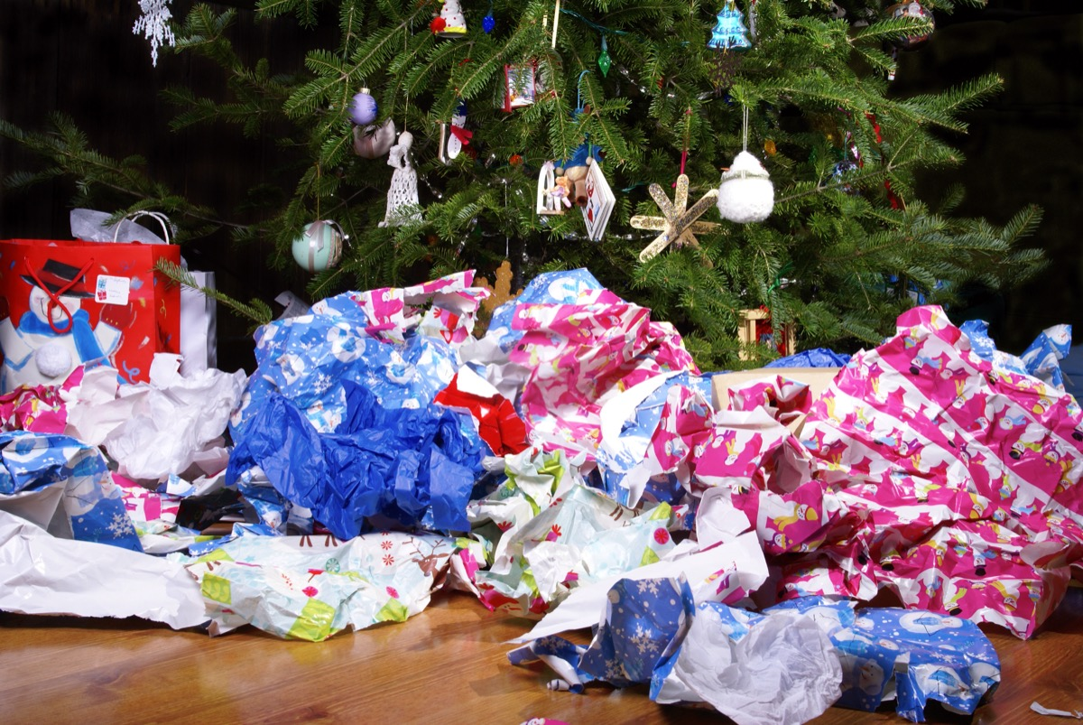 Wrapping paper all over the floor by a Christmas tree