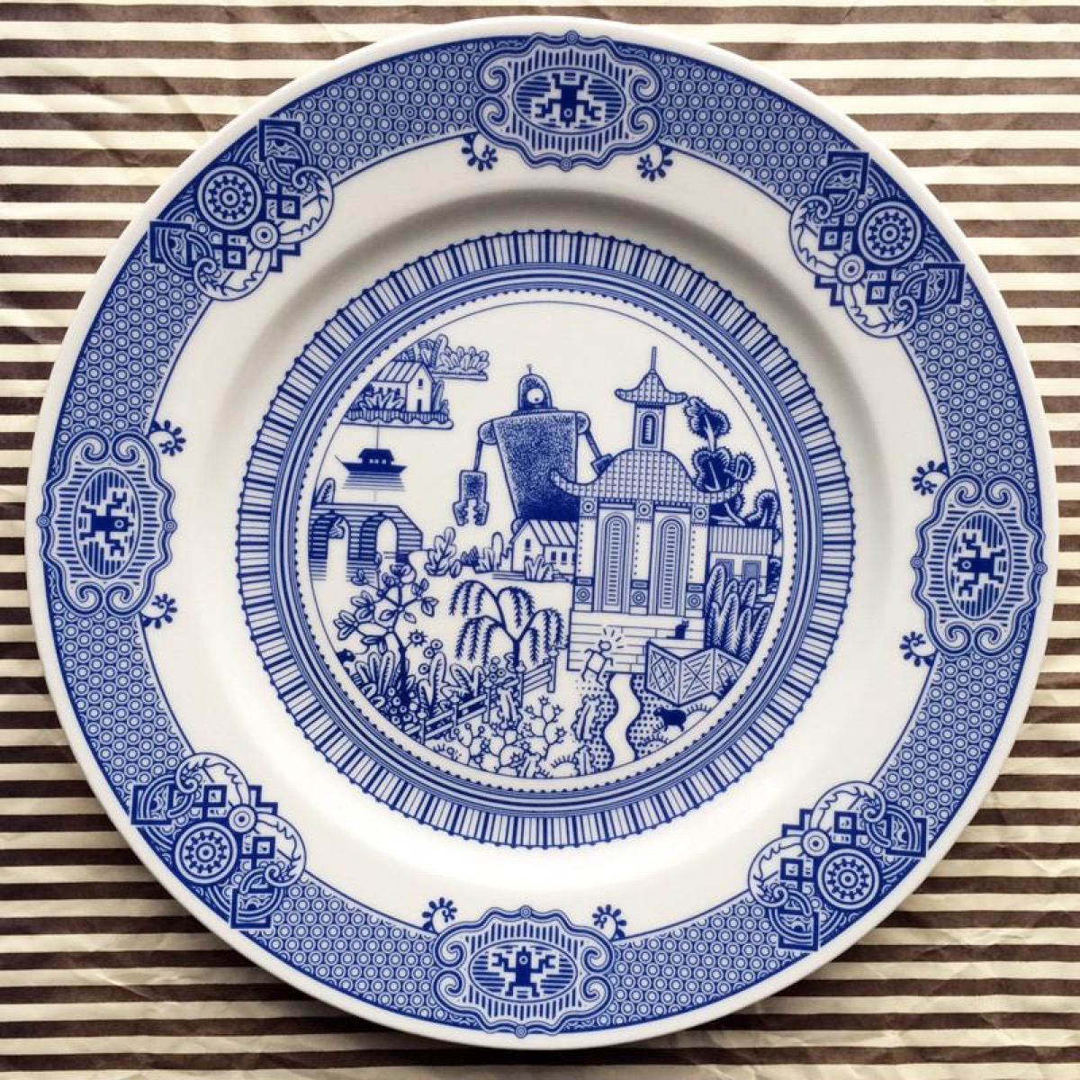 Porcelain plate with robot