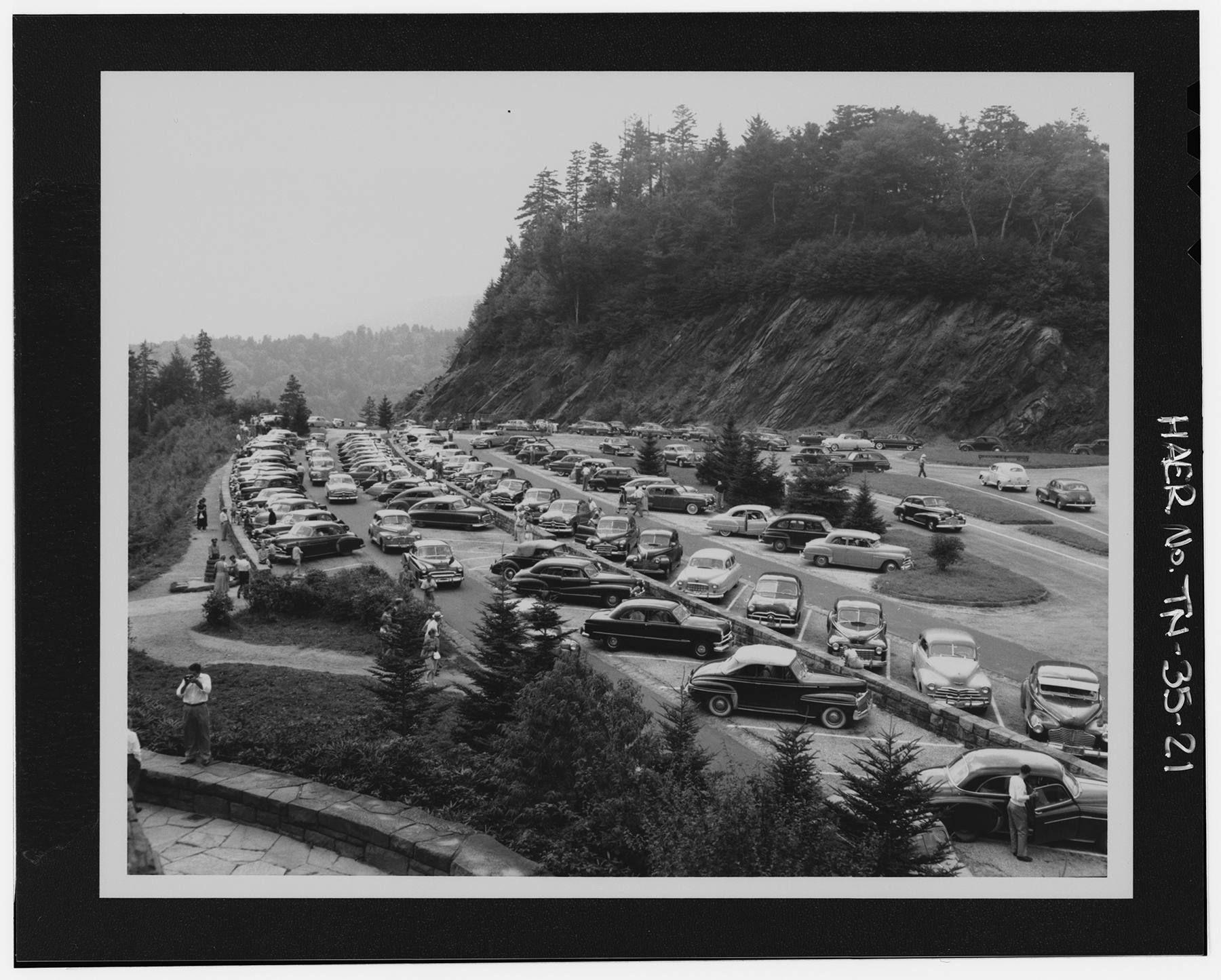 a full parking lot in a national park