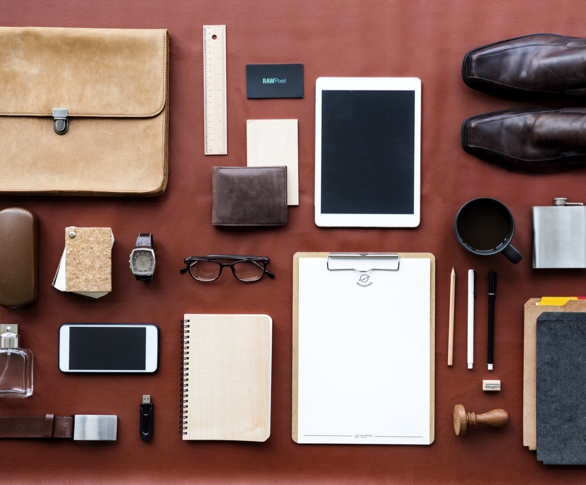 Items organized on a desk for work
