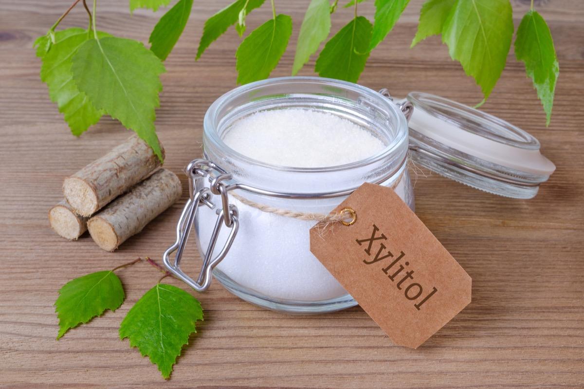 a glass jar with birch sugar