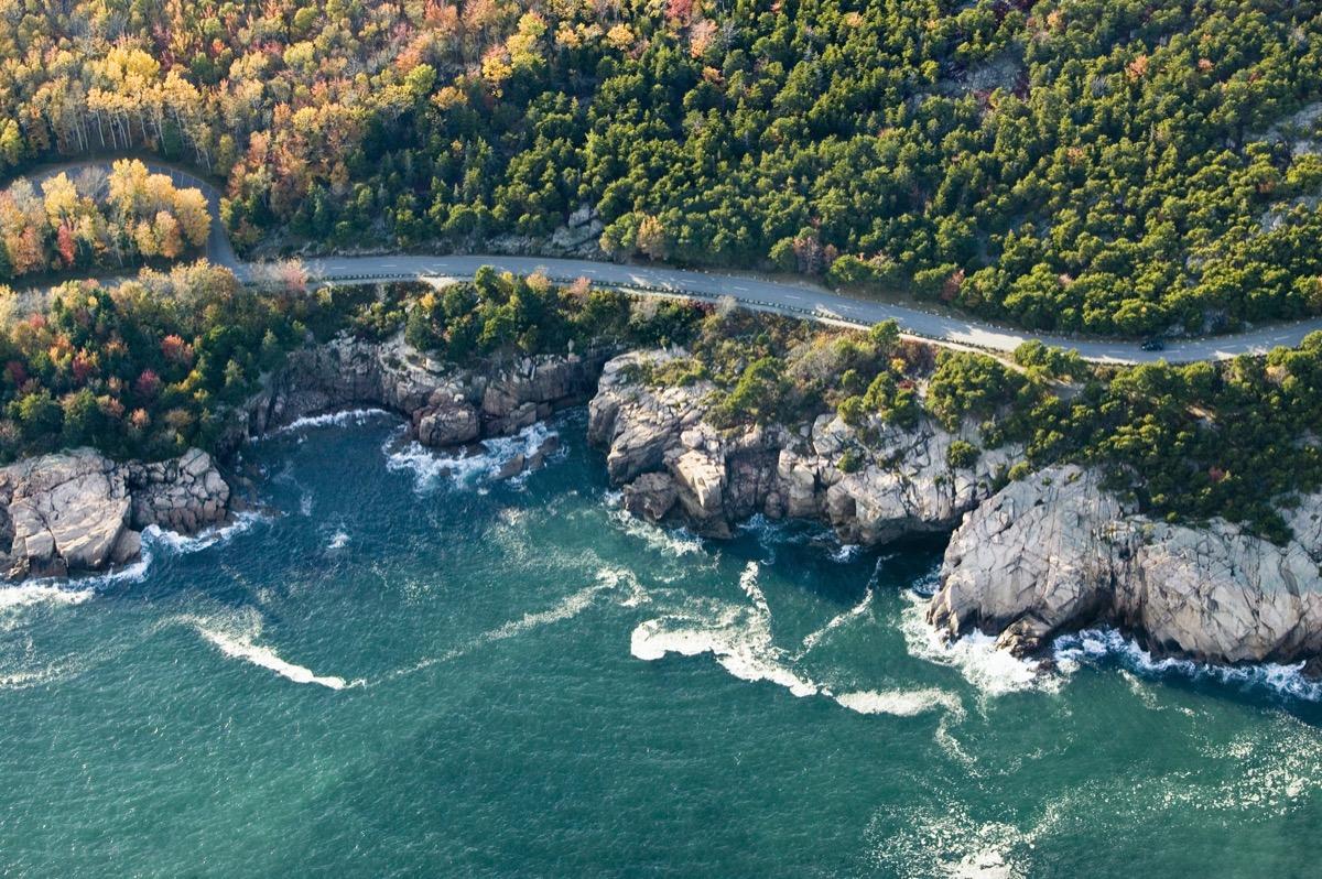 aerial view of a coastal road