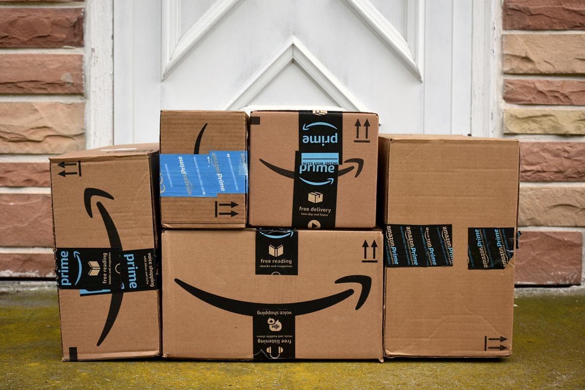 amazon packages on door step, ==