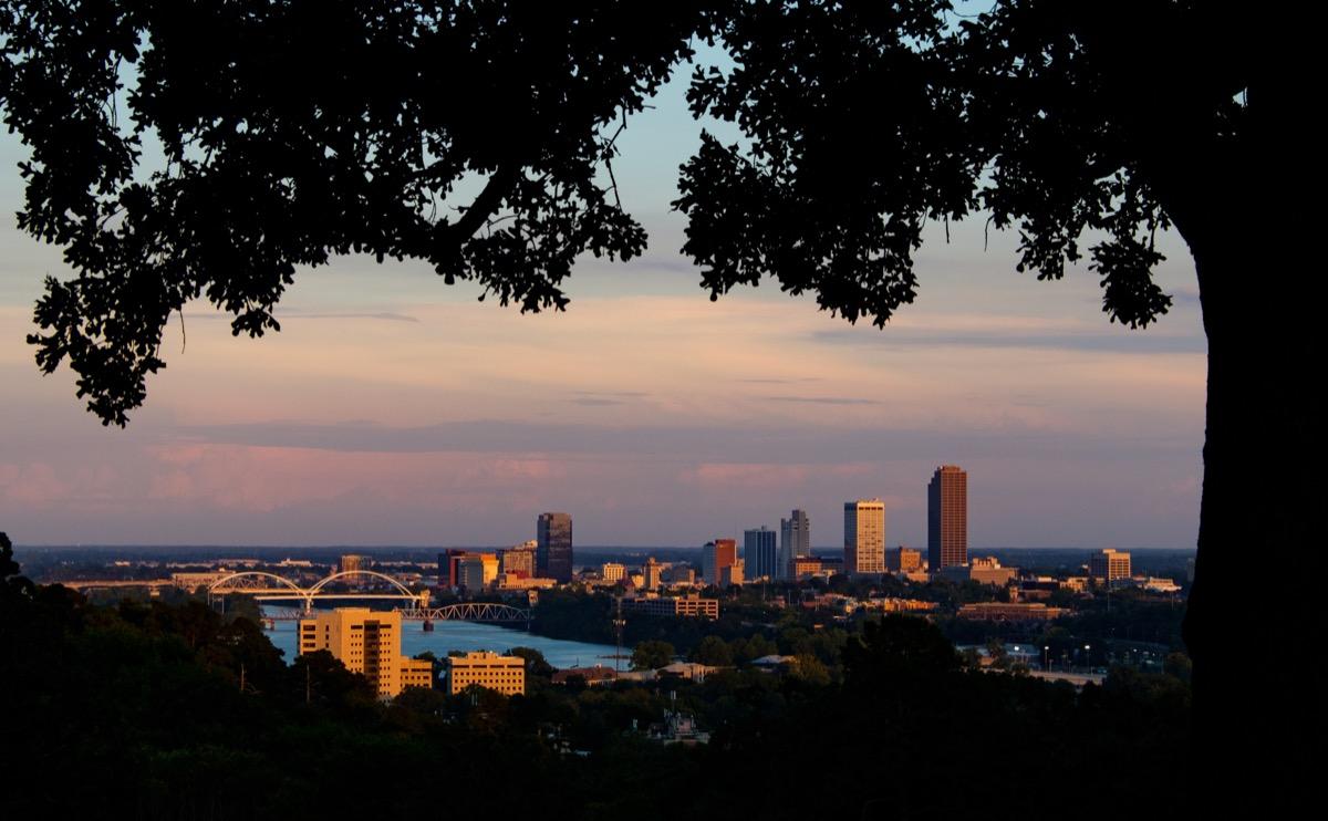 Downtown Little Rock, Arkansas, around sunset.