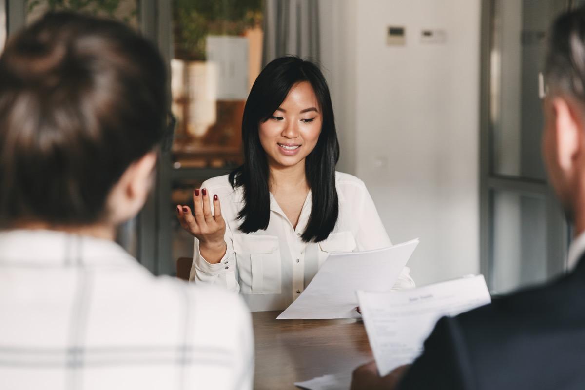 asian businesswoman talking in meeting