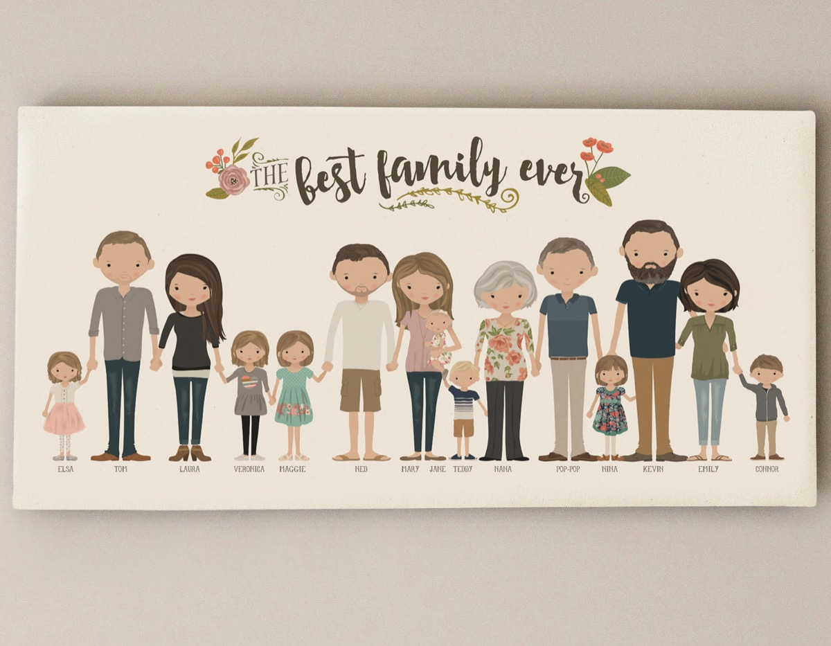 best family ever illustrated portrait