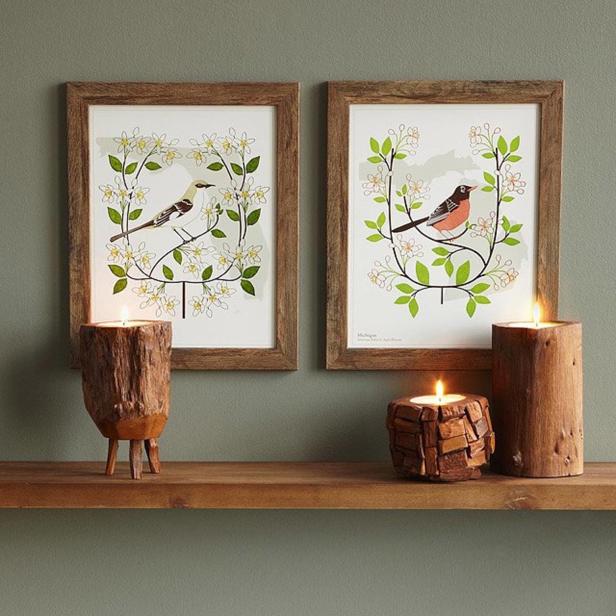 bird and blossoms art