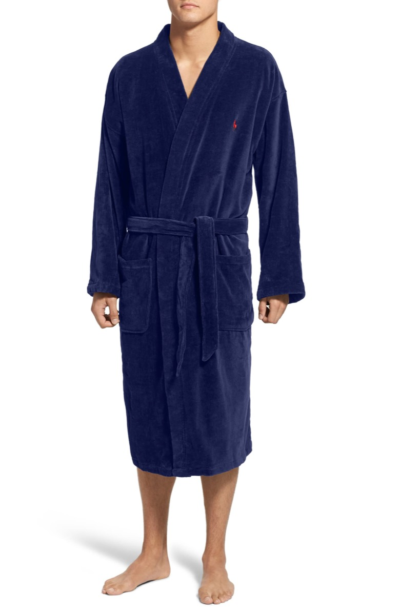 white man in blue belted robe